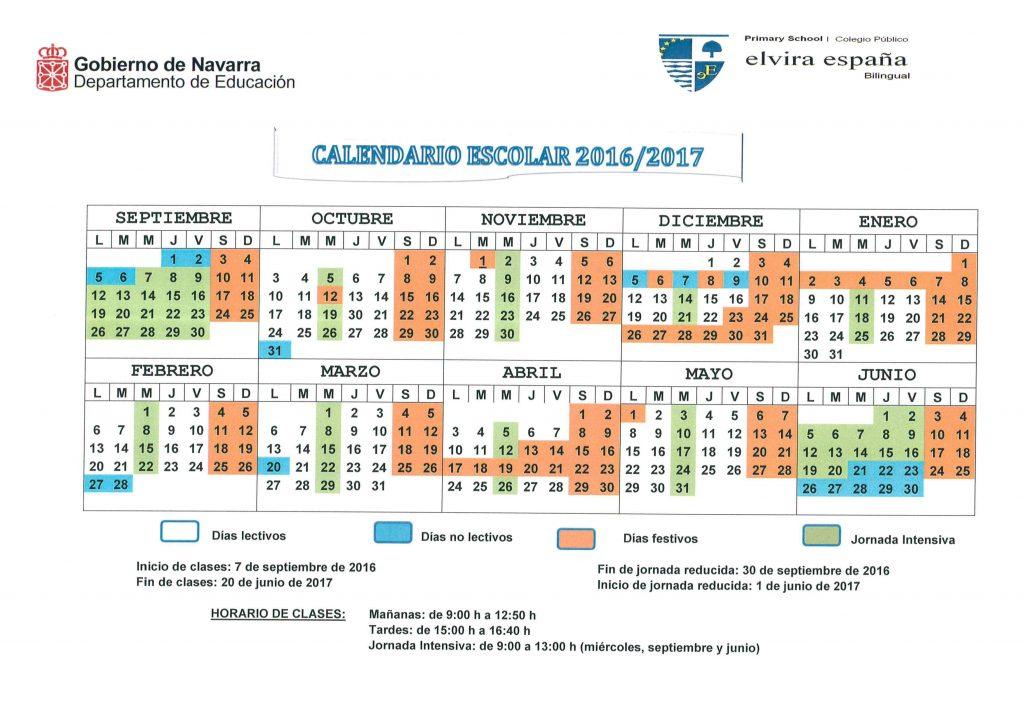 Calendario Escolar 2016/ 2017