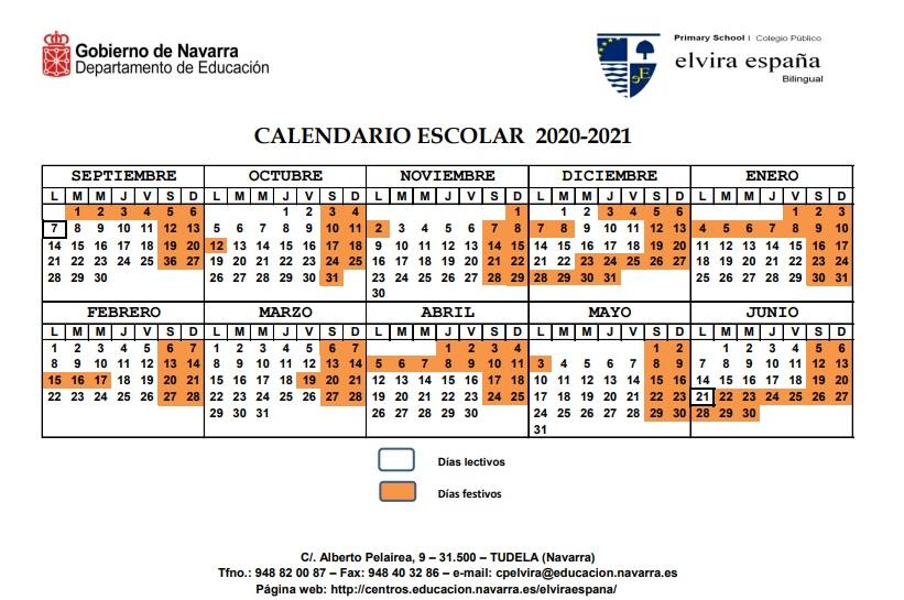 Calendario Escolar curso 20-21 Elvira España