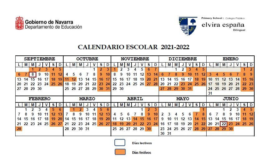 Calendario Escolar curso 21-22 Elvira España